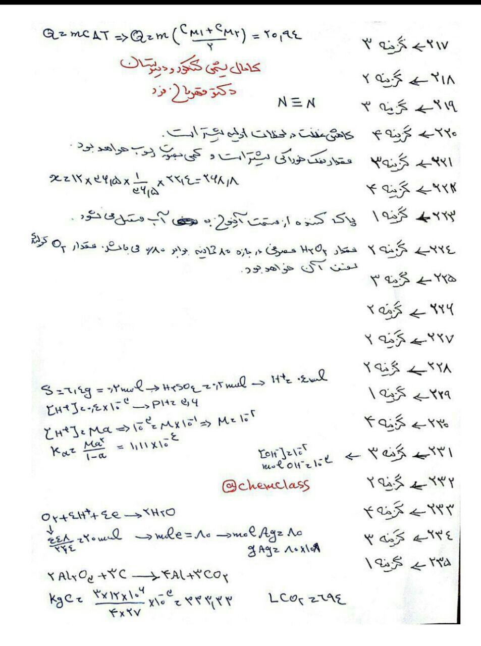 تحلیل کلی شیمی رشته ریاضی کنکور 96